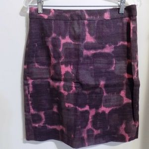 J. CREW Plum and Pink Print Pencil Skirt, size 4